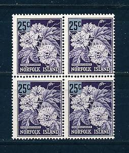 NORFOLK ISLAND 1966 DEFINITIVES SG68 25c (PASSION FLOWER) BLOCK OF 4 MNH