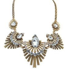 Gold & White Crystal Vintage Metal Chain Feather Stone Statement Necklace