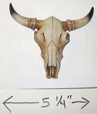 "NEW~5.25"" WIDE Bull Skull w/Horns Western Tribal Wall Hanging Decor Steer Cow"
