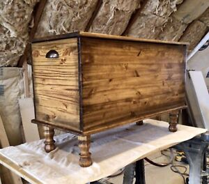 Handmade AMISH Style Blanket Wood Hope Chest Farmhouse Log Cabin Decor Trunk