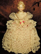 Antique HAND MADE HP German Porcelain Half Doll Pin Cushion Lace Satin Gown WOW