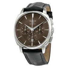Tissot T-Lord Automatic Chronograph Black Dial Black Leather Mens Watch