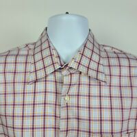 Peter Millar Red Orange Blue Check Mens Dress Button Shirt Size Large L