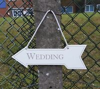 Hanging Wooden Wedding Sign Decoration White Fun Party Arrow Shabby Chic Plaque