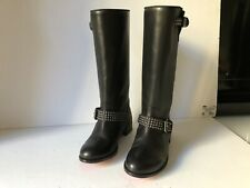 CHRISTIAN LOUBOUTIN BLACK LEATHER STUDDED MOTORCYCLE BOOTS, SIZE 36.5