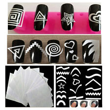 12Sheet Nail Art Guide Tips Geometric Stencil Sticker French Vinyl Template
