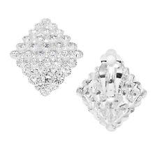 Ball Brautschmuck Clip Clips Ohrringe Ohrclips Abgerundet Kristall Klar 3,2 cm L