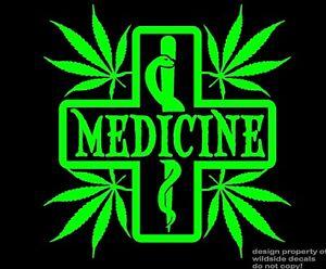 Marijuana Decal Medicine Medical Cross Snake pharmacy window vinyl sticker