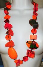 "Sobral 34"" Long Aventuras Indiana Chunky Orange Statement Necklace Brazil Import"
