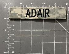 US Army Digital Camouflage Uniform Adair Name Tag Patch Tab Strip Tape Badge
