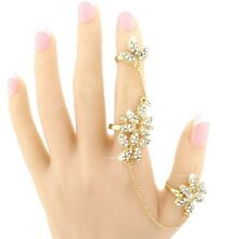 Women Fashion Charms Hollow Out Flower Full Finger Link Double Finger Ring S9