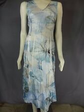 Komarov Dress Sleeveless V-Neck Paneled Midi Blue multi Floral Dress size M