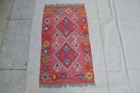 3'1 x 1'9 Pink Handmade Afghan Tribal Kilim Rug Wool Carpet Kelim Area Rug #8828