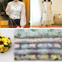 Lace Fabric Floral Mesh Sheer Flower Embroidered Retro for Dress Home Decor Trim