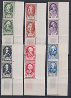 FRANCE SERIE 1949 MNH N** par paires BDF VOLTAIRE DUPLEIX TURGOT 853/858 CTE 62€