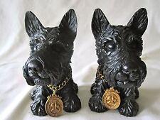 "Vintage Black Ceramic Scotty Dog Scottish Terrier Bookends Heavy Black 7"" Tall"