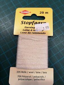 Darning Wool Yarn to repair 30% wool 70% Polyacrylic 20 Meters White