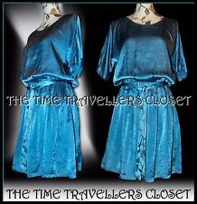 Kate Moss Topshop Teal Blue Silk Beaded 40s 50s WW2 Belted Shift Dress UK 6 8 10