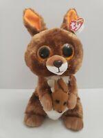 "TYSilk Beanie Boos 10"" KIPPER the Kangeroo with Baby Joey New Plush Stuffed"
