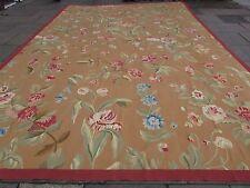 VECCHIO fatto a mano lana design francese 18 x 12 Oro Brown ORIGINALE Aubusson 558X364cm