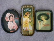 LOT OF 3 VINTAGE COCA-COLA METAL SERVING TRAYS SIGN - 1972 reproduction of 1914