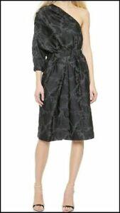 Jill Stuart Agathe One Shoulder Fil Coupe Dress, Charcoal, Size 0, NWT