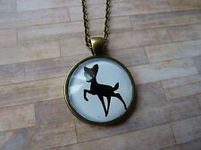 Vintage Look Bambi Silhouette Pendant Glass Necklace New in Gift Bag