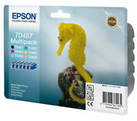 Genuine Epson 48 Multicolor ( T0487 ) 6 Pack Printer Ink Cartridge C13T04874010