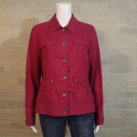 Style & Co MEDIUM Pinkish Purple 100% Linen Light Button Up Shirt Jacket