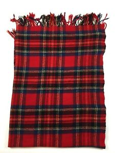 Vintage Pendleton Red Plaid Stadium Blanket Throw Fringe 100% Wool 65 x 48 Blue