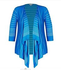 Stunning Ladies Stripe Blue Cardigan 3/4 Sleeve Size 26- Viscose & Nylon