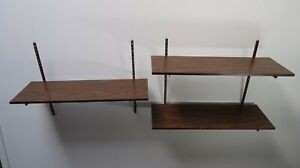 Vintage Floating Shelf Wall Mount Bookshelf Rack Height Adjustable MCM