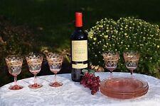 Vintage GOLD Encrusted Etched Pink Wine glasses ~ 5 Glasses & Plates