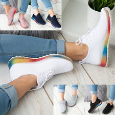 Womens Rainbow Sole Ladies Trainers Sneakers Slip On Lace Jogging Plimsole Shoes