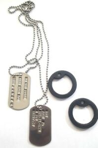 MILITARY PERSONALIZED DOG TAGS BALL CHAIN & SILENCERS OFFICIAL GI ARMY / USMC