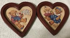 Homco Home Interiors Barbara Mock Pictures Patriotic Bears Boy Girls Heart Frame