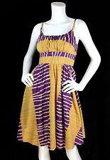Anthropologie Fei Sz 4 S Dress 'Serengeti' Print Cotton w/ Side Pockets - EUC