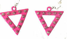 earrings triangle shaped studded 2 inch dangle style pink metal new
