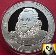 2007 Alderney £ 5 Cinq Pound Great Britons Sir Francis Drake SILVER PROOF COIN