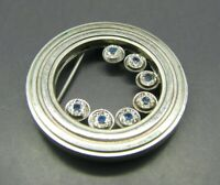 UNUSUAL Silver Tone CIRCLE BROOCH PIN Genuine BLUE SAPPHIRE GEMSTONES Vintage