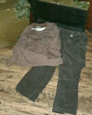 Wonderkids Brown White Polka Dot Shirt Cherokee Corduroy Pants Lot Size 4T *