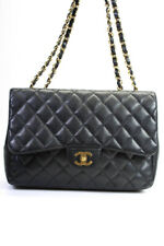 Chanel Caviar Leather Chain Strap Jumbo Single Flap Shoulder Handbag Black