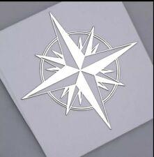 KOMPASS...SILBER.. Emblem  3D Metall Nickel Auto Fenster Aufkleber Motorrad