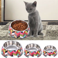 Non Slip Multicolor Stainless Steel Cat Puppy Dog Pet Bowl Dish Water Food Feed