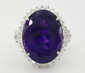 Vintage Platinum 16.48 ct Oval Cut Amethyst & Diamond Ballerina Statement Ring