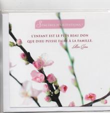 Carte Naissance Sincères Félicitations citation Mère Thérésa fleurs 13 x 12 cm