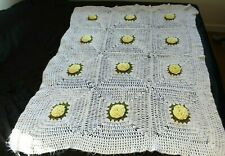 White with Yellow and Green Daisy Afghan 65 x 45 Throw Blanket Crochet Hand Made