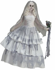 Deluxe Victorian Ghost Bride Corpse Bride White Gown Fancy Womens Costume Std