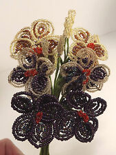 Beaded Flowers French Vintage Handcrafted Bouquet Seed Bead Color Variations
