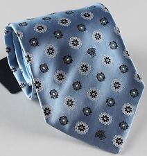 "NWT VERSACE silk TIE floral sky blue medusa logo made in Italy 3.74"""